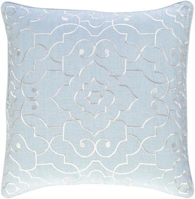 """Adagio Floral Design 18"""" Throw Pillow, Light Gray/Cream, large"""