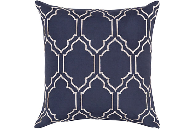 "Skyline Navy Geometric 20"" Throw Pillow, , large"