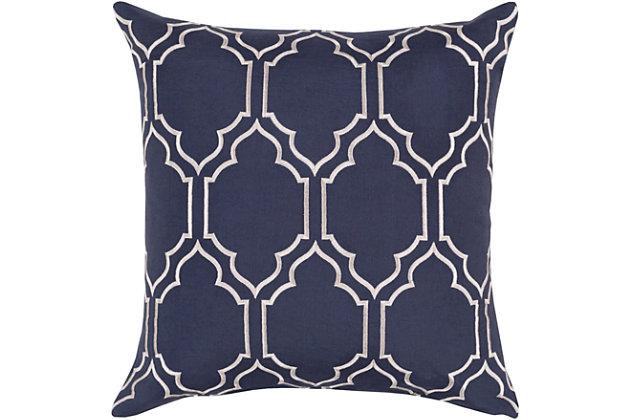 "Skyline Navy Geometric 22"" Throw Pillow, , large"