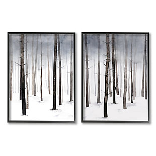Stupell Winter Snow Tree Forest Haze Eerie Cold 16 X 20 Framed Wall Art (set Of 2), Gray, large