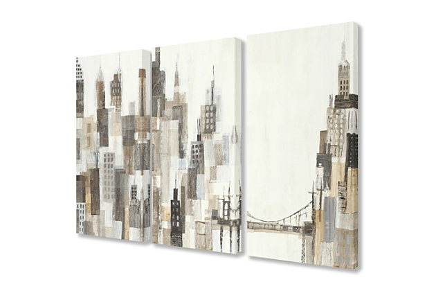 Stupell Cityscape Abstract Squares Neutral Painting 16 x 24 Canvas Wall Art (Set of 3), , large