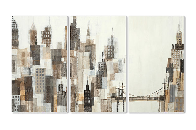 Stupell Cityscape Abstract Squares Neutral Painting 11 x 17 Wood Wall Art (Set of 3), , large