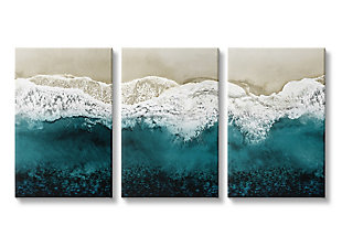Stupell Aerial of Incoming Tide at Sandy Beach 16 x 24 Canvas Wall Art (Set of 3), , large