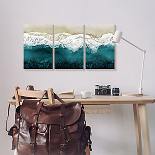 Stupell Aerial of Incoming Tide at Sandy Beach 11 x 17 Wood Wall Art (Set of 3), , rollover