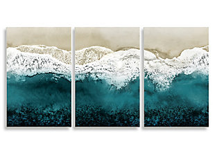 Stupell Aerial of Incoming Tide at Sandy Beach 11 x 17 Wood Wall Art (Set of 3), , large