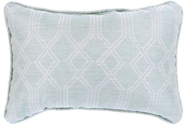 "Crissy Geometric Print 16"" Indoor/Outdoor Throw Pillow, Sea Foam/White, large"