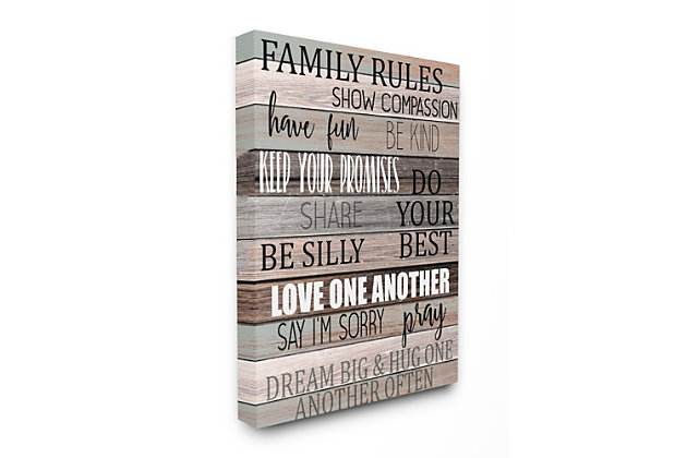 Stupell Family Rules Text Fun Wood Grain Rustic Tan Teal 16 x 20 Canvas Wall Art, Brown, large