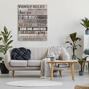 Stupell Family Rules Text Fun Wood Grain Rustic Tan Teal 36 x 48 Canvas Wall Art, Brown, rollover