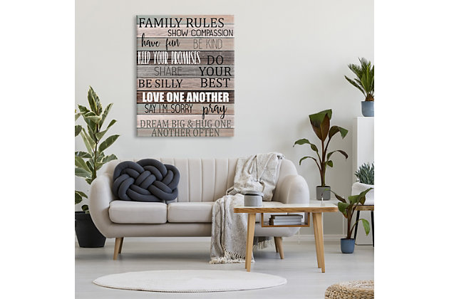 Stupell Family Rules Text Fun Wood Grain Rustic Tan Teal 36 x 48 Canvas Wall Art, Brown, large
