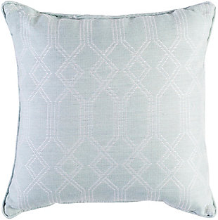 Crissy Geometric Print Indoor/Outdoor Throw Pillow, Sea Foam/White, large
