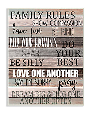 Stupell Family Rules Text Fun Wood Grain Rustic Tan Teal 13 x 19 Wood Wall Art, Brown, large