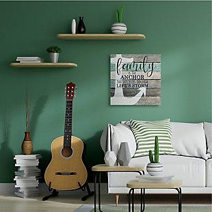 Stupell Family Anchor through Storm Motivational Phrase Wood Grain 36 x 36 Canvas Wall Art, Brown, rollover