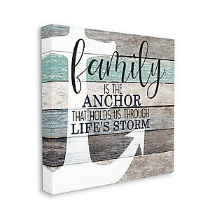 Stupell Family Anchor through Storm Motivational Phrase Wood Grain 36 x 36 Canvas Wall Art, Brown, large