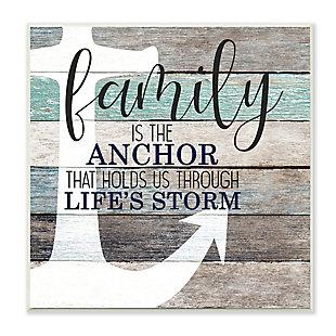 Stupell Family Anchor through Storm Motivational Phrase Wood Grain 12 x 12 Wood Wall Art, , large