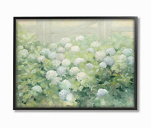 Stupell Floral Blue White Hydrangea Garden Farmhouse Painting 24 x 30 Framed Wall Art, Green, large