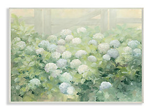 Stupell Floral Blue White Hydrangea Garden Farmhouse Painting 13 x 19 Wood Wall Art, Green, large