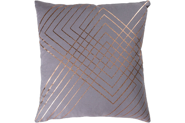 "Porton Geometric 20"" Throw Pillow, Medium Gray/Gold, large"