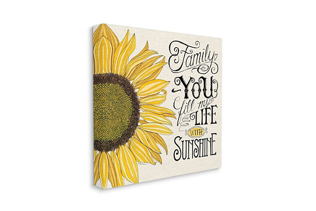 Stupell You Fill My Life with Sunshine Quote Sunflower Family Phrase 30 x 30 Canvas Wall Art, Beige, large