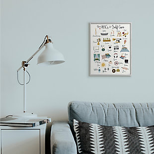 Stupell ABC's of Self Care Adult Relaxation Alphabet 16 x 20 Framed Wall Art, White, rollover