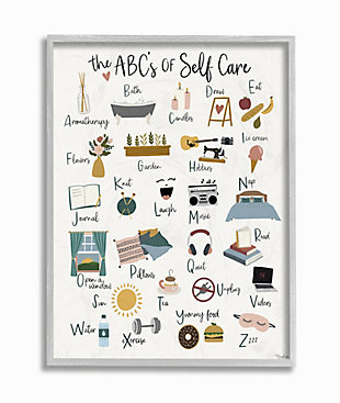 Stupell ABC's of Self Care Adult Relaxation Alphabet 16 x 20 Framed Wall Art, White, large
