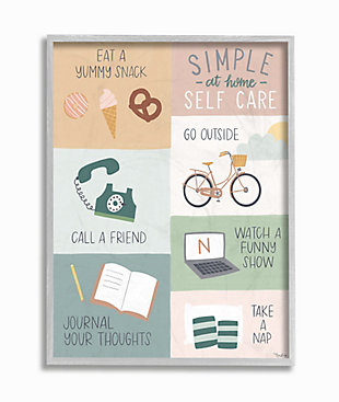 Stupell Simple Home Self Care Advice Stay Positive Design 16 x 20 Framed Wall Art, Green, large