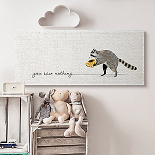 Stupell You Saw Nothing Phrase Animal Humor Raccoon Coffee 20 x 48 Canvas Wall Art, White, rollover