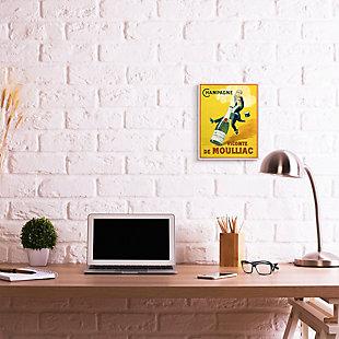 Stupell Vintage Illustration Champagne Vicomte de Moulliac Pop Bottle 10 x 15 Wood Wall Art, Yellow, large