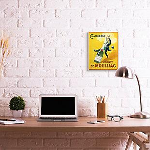 Stupell Vintage Illustration Champagne Vicomte de Moulliac Pop Bottle 13 x 19 Wood Wall Art, Yellow, rollover