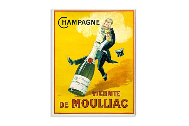 Stupell Vintage Illustration Champagne Vicomte de Moulliac Pop Bottle 13 x 19 Wood Wall Art, Yellow, large