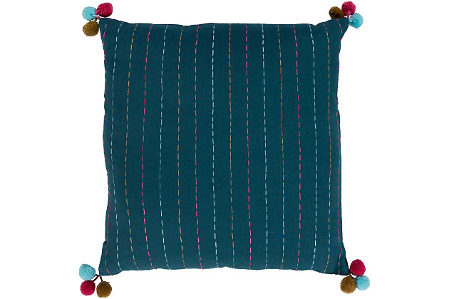 "Dhaka Pompom 18"" Throw Pillow, , large"