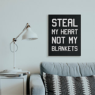 Stupell Steal Hearts Not Blankets Motivational Romance Phrase 24 X 30 Canvas Wall Art, Gray, rollover