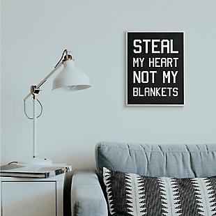 Stupell Steal Hearts Not Blankets Motivational Romance Phrase 16 x 20 Framed Wall Art, Gray, rollover