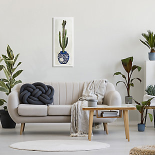 Stupell Cactus In Blue Ornate Vase Succulent Still Life 13 X 30 Canvas Wall Art, Beige, large