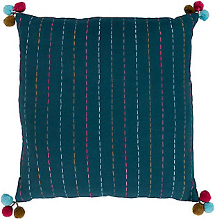 "Dhaka Pompom 22"" Throw Pillow, , rollover"