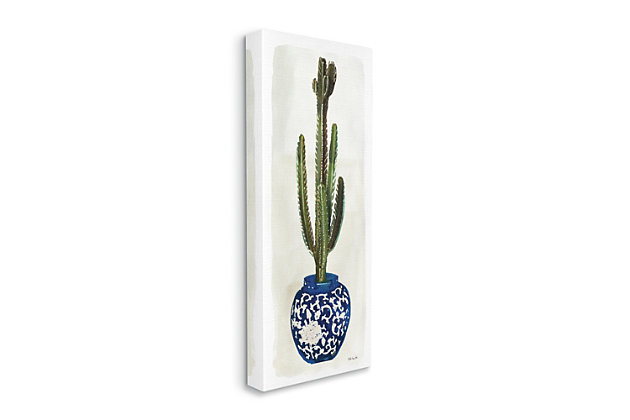 Stupell Cactus In Blue Ornate Vase Succulent Still Life 20 X 48 Canvas Wall Art, Beige, large