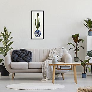 Stupell Cactus in Blue Ornate Vase Succulent Still Life 13 x 30 Framed Wall Art, Beige, rollover