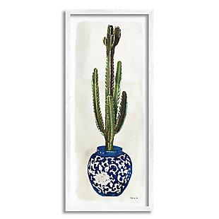 Stupell Cactus in Blue Ornate Vase Succulent Still Life 13 x 30 Framed Wall Art, Beige, large