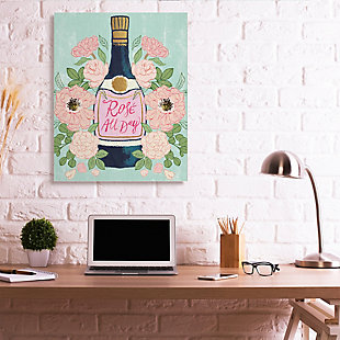Stupell Rose All Day Phrase Floral Wine Bottle Pink Green 36 X 48 Canvas Wall Art, Green, rollover