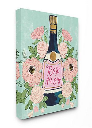 Stupell Rose All Day Phrase Floral Wine Bottle Pink Green 36 X 48 Canvas Wall Art, Green, large