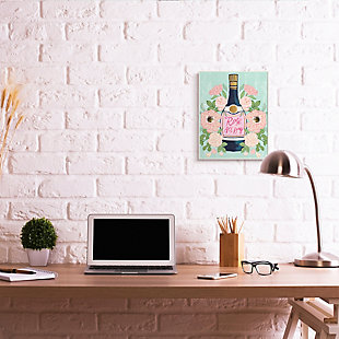Stupell Rose All Day Phrase Floral Wine Bottle Pink Green 13 x 19 Wood Wall Art, Green, rollover