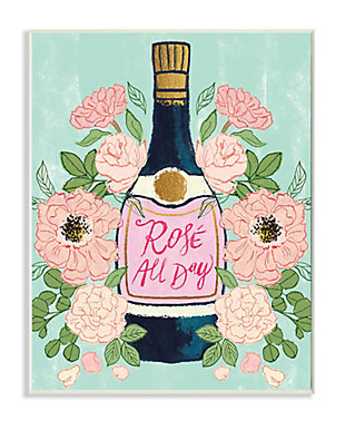 Stupell Rose All Day Phrase Floral Wine Bottle Pink Green 13 x 19 Wood Wall Art, Green, large