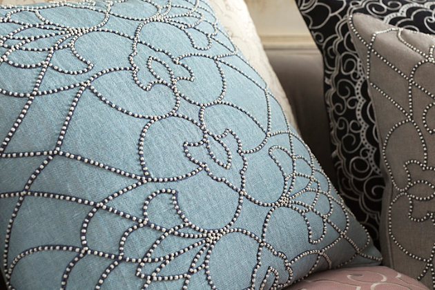 "Dotted Pirouette Beaded 22"" Throw Pillow, , large"