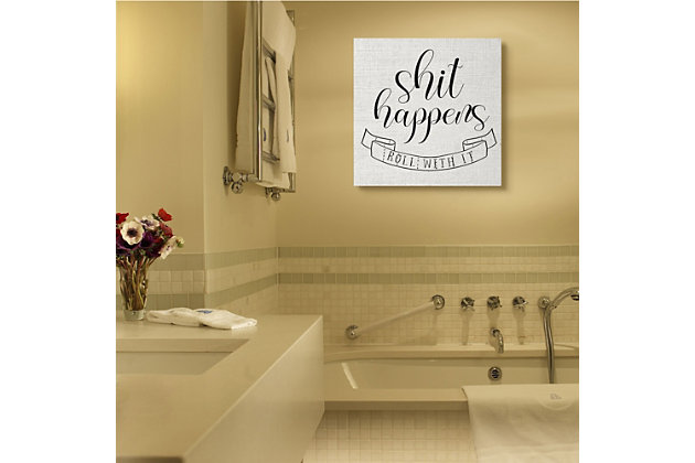 Stupell Roll With It Sassy Motivational Bathroom Quote 36 X 36 Canvas Wall Art, White, large