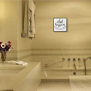 Stupell Roll With It Sassy Motivational Bathroom Quote 12 x 12 Framed Wall Art, , rollover