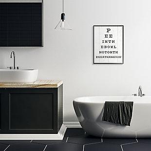 Stupell Bathroom Seeing Eye Chart Pee In the Bowl Phrase 24 x 30 Framed Wall Art, White, rollover