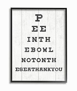 Stupell Bathroom Seeing Eye Chart Pee In the Bowl Phrase 24 x 30 Framed Wall Art, White, large
