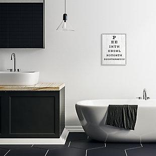 Stupell Bathroom Seeing Eye Chart Pee In The Bowl Phrase 16 X 20 Framed Wall Art, White, rollover
