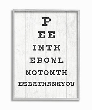Stupell Bathroom Seeing Eye Chart Pee In The Bowl Phrase 16 X 20 Framed Wall Art, White, large