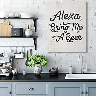 Stupell Alexa Bring Me Beer Distressed Kitchen Sign 36 X 48 Canvas Wall Art, Beige, rollover