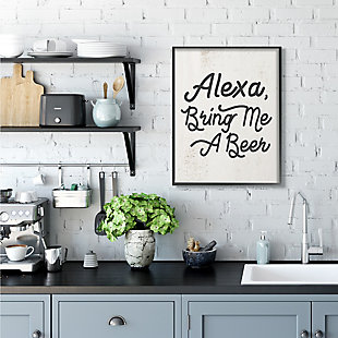Stupell Alexa Bring Me Beer Distressed Kitchen Sign 24 x 30 Framed Wall Art, Beige, rollover